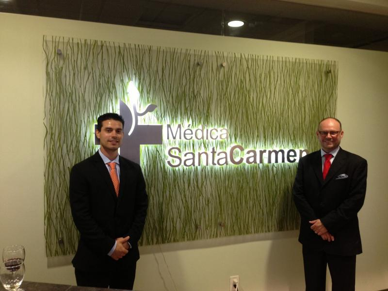IPIHD student intern Jose Magana with CEO Andres Gutierrez at Medica Santa Carmen. Jose is working with MSC to improve their administrative and financial reporting procedures.