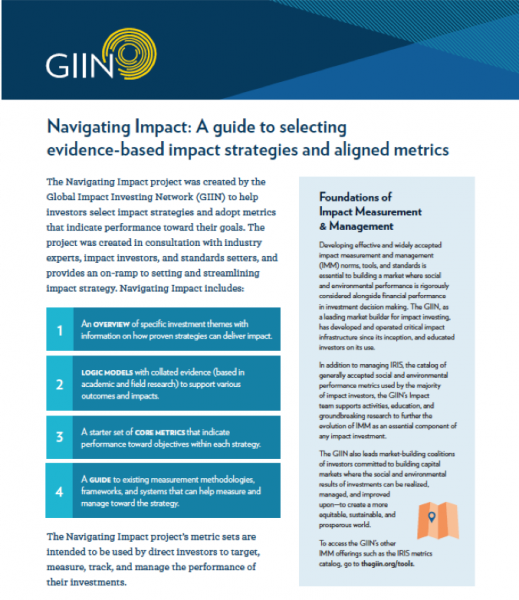 GIIN Navigating Impact guide to evidence-based impact strategies